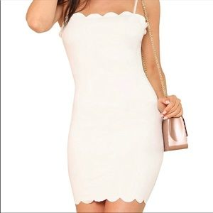 Romwe White Scalloped Dress